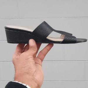 """Halston """"H"""" ReganT-Strap Slide Wedge Sandal 👡"""